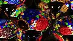 Decorative chandeliers in Grand bazaar. Istanbul, Turkey. - stock footage