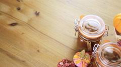 Homemade pumpkin butter made with organic pumpkins. Stock Footage