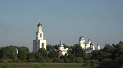 Distant view of St George's (Yuriev) Monastery, Veliky Novgorod, Russia. Stock Footage