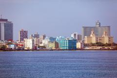 Skyline of modern Havana and Caribbean sea, Cuba - stock photo