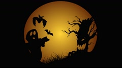 Halloween animation with moon evil spooky scary horror tree and bats - stock footage