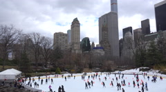 Ice skaters in Central Park, New York City. Arkistovideo