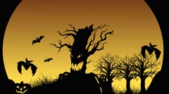 Halloween Animation with bats, jack-o'-lantern, tombstone and ghost - stock footage