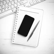 computer and notepad with smart phone black and white tone color style - stock photo