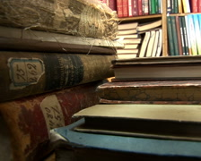 Old books on the table - stock footage