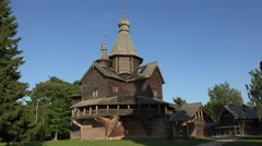 The Vitoslavlitsy Museum of Wooden Architecture (4k), Veliky Novgorod, Russia. Stock Footage