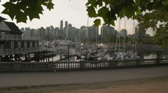 Coal Harbor Seawall, Stanley Park Stock Footage