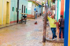 Stock Photo of TRINIDAD, CUBA - SEPTEMBER 8, 2015:  Flooded streets in designated a World