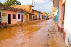 TRINIDAD, CUBA - SEPTEMBER 8, 2015:  Flooded streets in designated a World - stock photo