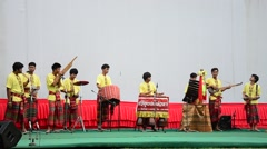 Thai people playing the northeast Thai traditional music called The pong lang - stock footage