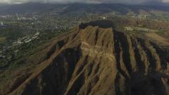 Hawaii Diamond Head Crater w/ Honolulu Skyline Reveal Stock Footage