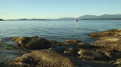 Morning Sun, Gulf Islands, Rocky Shore Stock Footage
