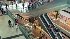 Interior view of the Shoppes at Marina Bay Sands, Singapore Stock Footage