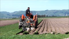 Plowing with vintage machinery 2. Wide. Stock Footage