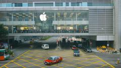 Buyers stand in big apple store in International Finance Centre Hong Kong Stock Footage