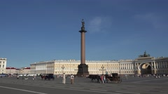 Palace Square (in 4k) with the General Staff building in St Petersburg, Russia. Stock Footage