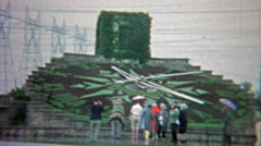 1965: The hydro floral clock of Ontario Niagara Falls National Park. Stock Footage