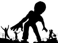 Boy giant - stock illustration