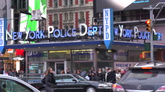 The New York police department station at Times Square. Stock Footage