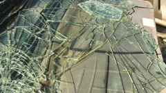 broken glass car dash accident vehicle crashed crash - stock footage