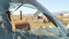 Broken windsheild wind shield car accident Stock Footage