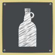 Vector flat apple cider vinegar bottle template - stock illustration