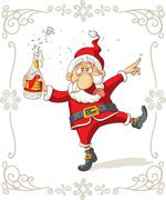 Drunk Santa Dancing Vector Cartoon - stock illustration
