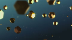 Flying golden crystals Stock Footage