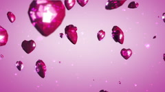 Flying crystal hearts - stock footage
