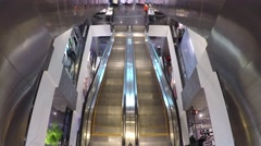 Escalator in shopping mall filmed from above 4k - stock footage