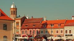 Romanian Town of Brasov - Main Square (Piata Sfatului) - stock footage