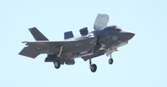 MCAS Miramar Air Show F-35B Lighting II Hovering and Turning Stock Footage