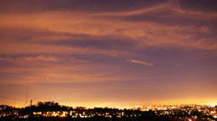 Time Lapse of Lunar Eclipse Rising over Cityscape in LA 2015 Sep -Pan Left- Stock Footage