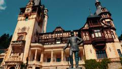 Peles Castle in Romania - Panoramic View Stock Footage
