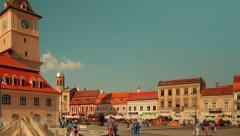 Romanian Town of Brasov - Main Square (Piata Sfatului) Stock Footage
