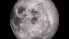 "Retimed ""matrix"" style flyby of Earth's moon, 90 degrees longitude. Stock Footage"