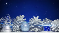 Christmas decorations on blue background loop 4k (4096x2304) Stock Footage