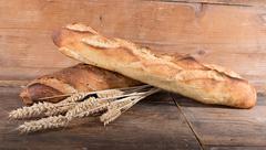 Crusty fresh baguettes - stock photo