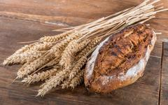 Fresh crusty fig bread with ears of wheat - stock photo