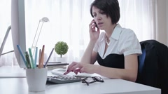 Formal wear serious businesswoman work on big computer,  modern office - stock footage