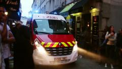 Emergency truck arrives in a fire scene in Paris Stock Footage