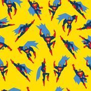 Superman Seamless Pattern Vector Illustration - stock illustration