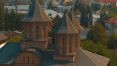 Tilting ultra close-up shot from Chindia Tower in Targoviste, Romania Stock Footage