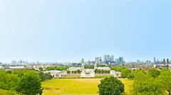 Greenwich park in London, the financial district Canary Wharf on background Stock Footage