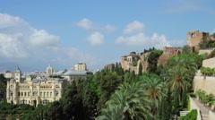 Malaga Landmarks Time-Lapse Stock Footage