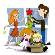 Decorating Christmas tree Stock Illustration