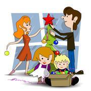 Decorating Christmas tree - stock illustration