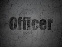 Stock Illustration of Law concept: Officer on grunge wall background