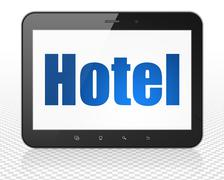 Tourism concept: Tablet Pc Computer with Hotel on display - stock illustration