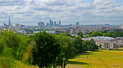 Greenwich park in London, River Thames and London business center on background Stock Footage